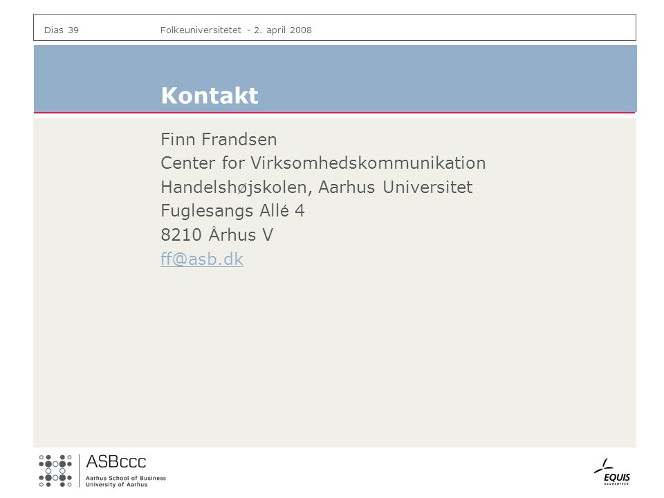 Kontakt Finn Frandsen Center for Virksomhedskommunikation