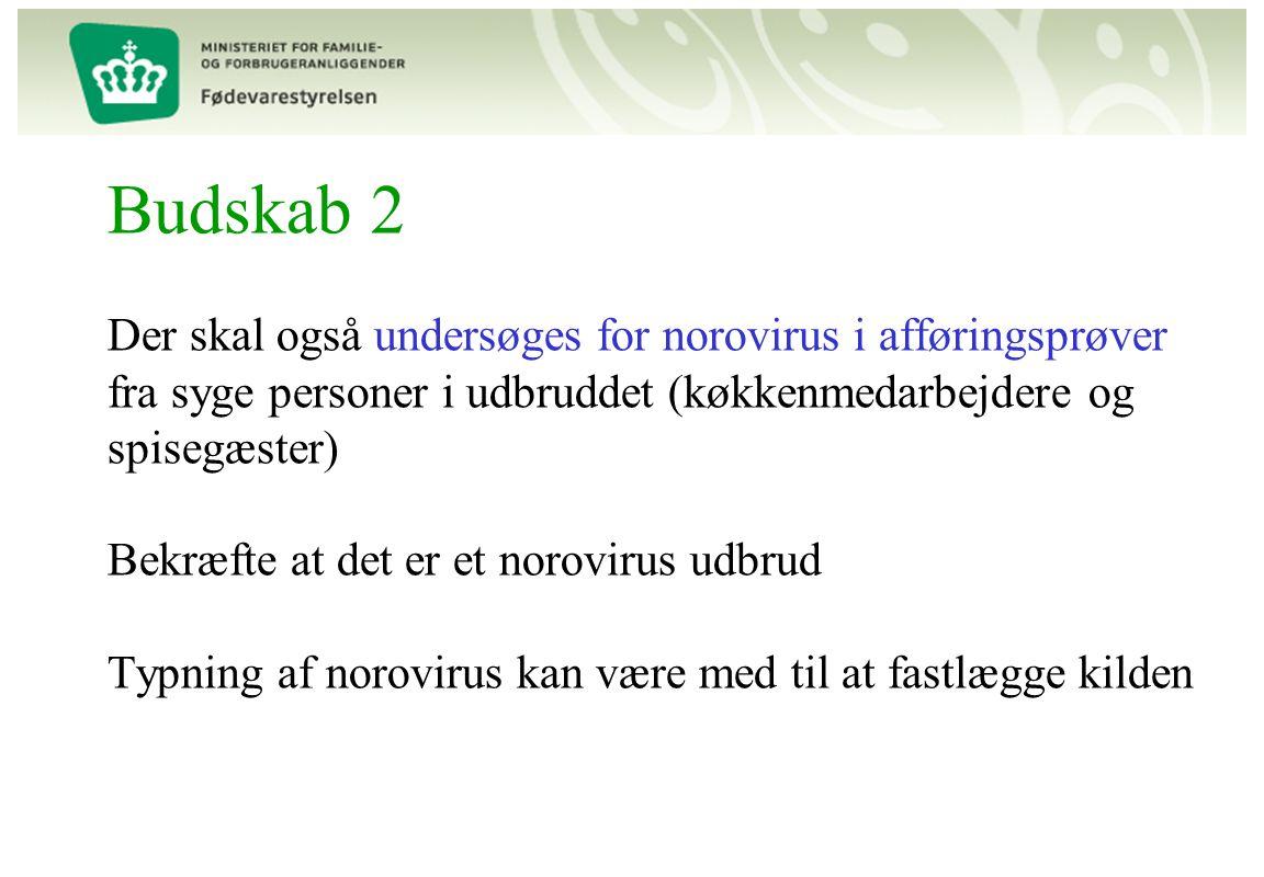 Budskab 2 Der skal også undersøges for norovirus i afføringsprøver fra syge personer i udbruddet (køkkenmedarbejdere og spisegæster) Bekræfte at det er et norovirus udbrud Typning af norovirus kan være med til at fastlægge kilden