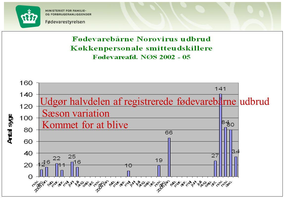 Udgør halvdelen af registrerede fødevarebårne udbrud