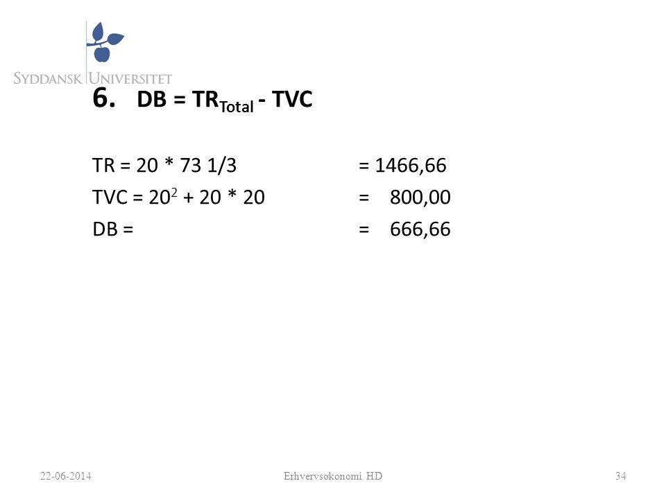 DB = TRTotal - TVC TR = 20 * 73 1/3 = 1466,66