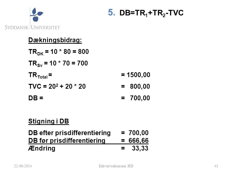 DB=TR1+TR2-TVC Dækningsbidrag: TRDK = 10 * 80 = 800