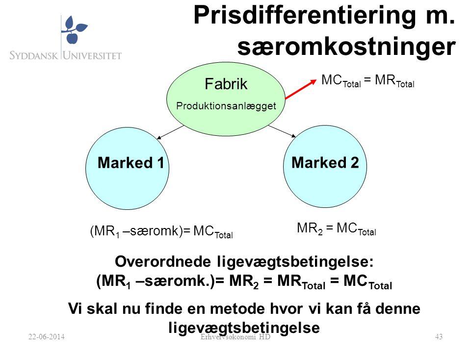 Prisdifferentiering m. særomkostninger
