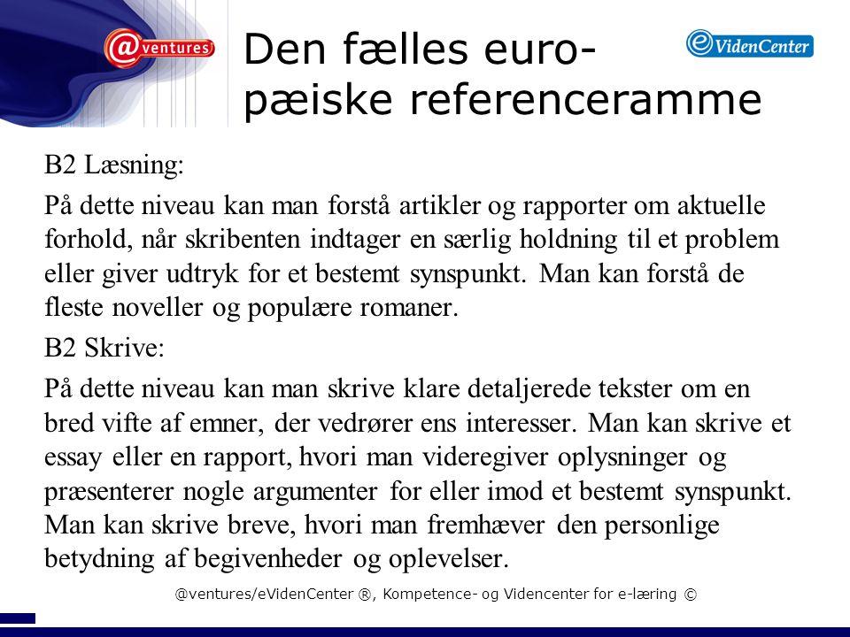 Den fælles euro- pæiske referenceramme