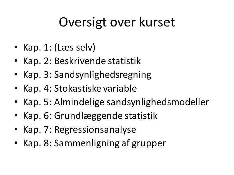 Oversigt over kurset Kap. 1: (Læs selv) Kap. 2: Beskrivende statistik
