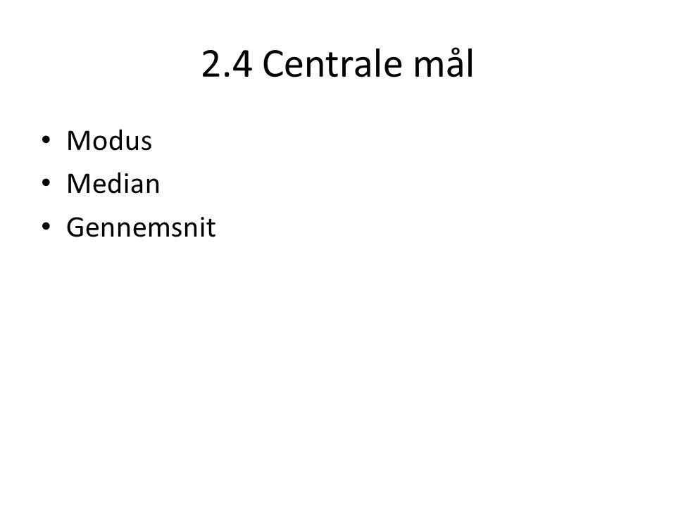2.4 Centrale mål Modus Median Gennemsnit