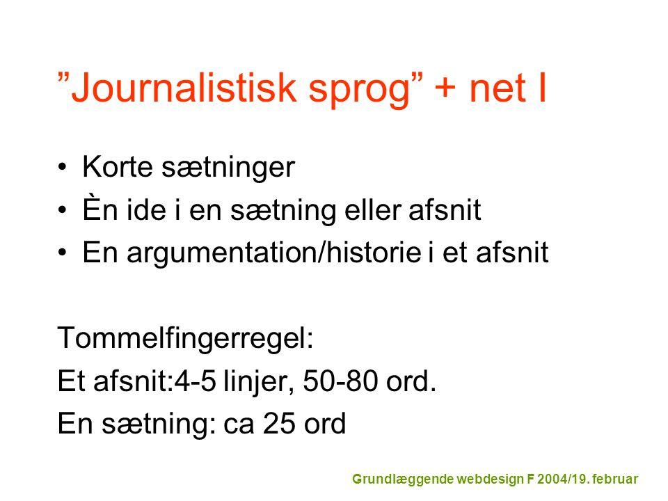 Journalistisk sprog + net I