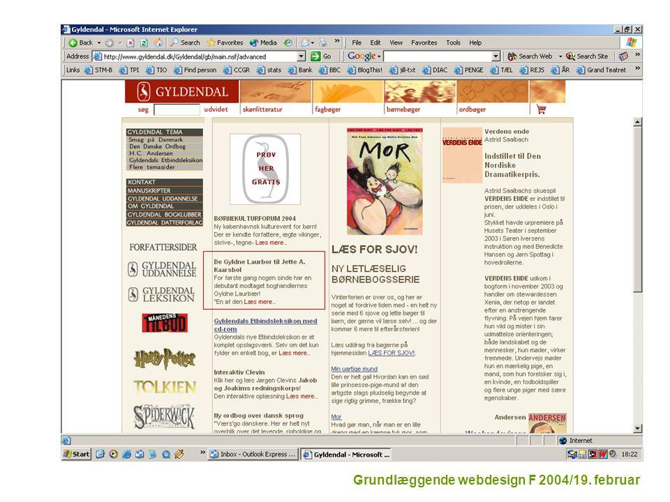 Grundlæggende webdesign F 2004/19. februar