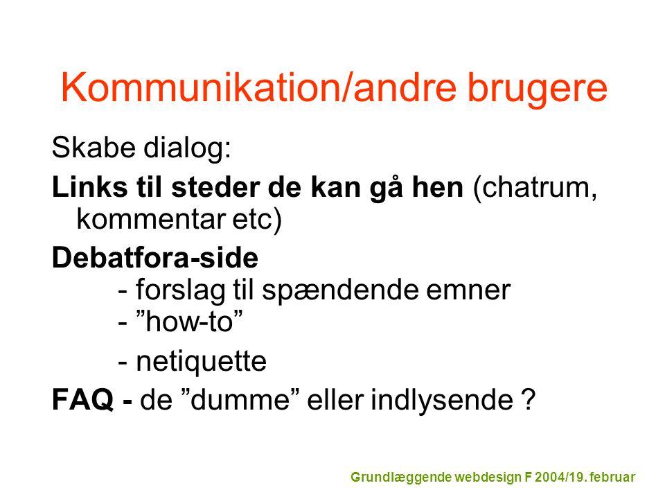 Kommunikation/andre brugere