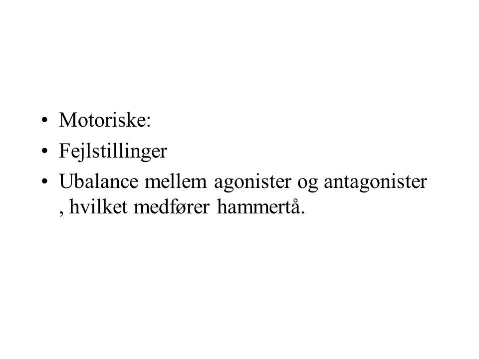 Motoriske: Fejlstillinger Ubalance mellem agonister og antagonister , hvilket medfører hammertå.