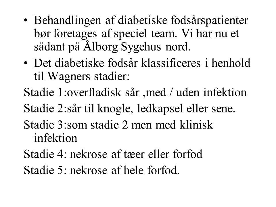 Behandlingen af diabetiske fodsårspatienter bør foretages af speciel team. Vi har nu et sådant på Ålborg Sygehus nord.