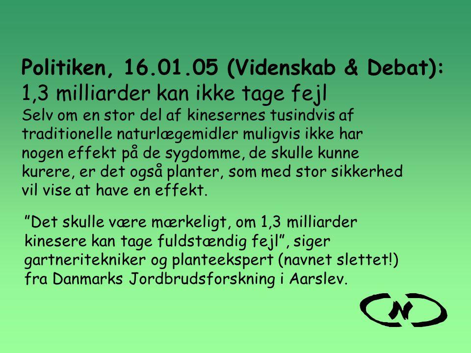 Politiken, 16.01.05 (Videnskab & Debat):