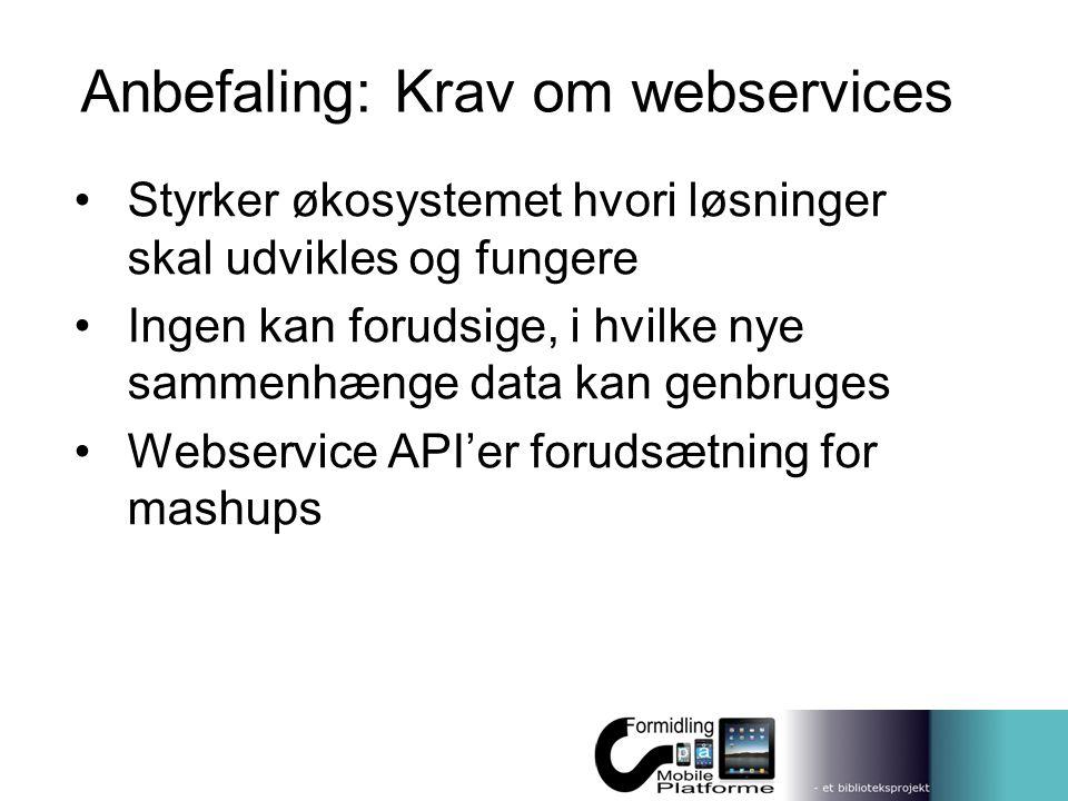 Anbefaling: Krav om webservices