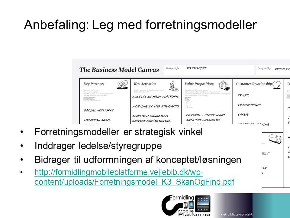 Anbefaling: Leg med forretningsmodeller