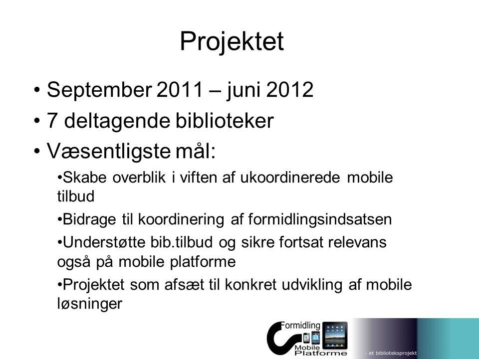 Projektet September 2011 – juni 2012 7 deltagende biblioteker