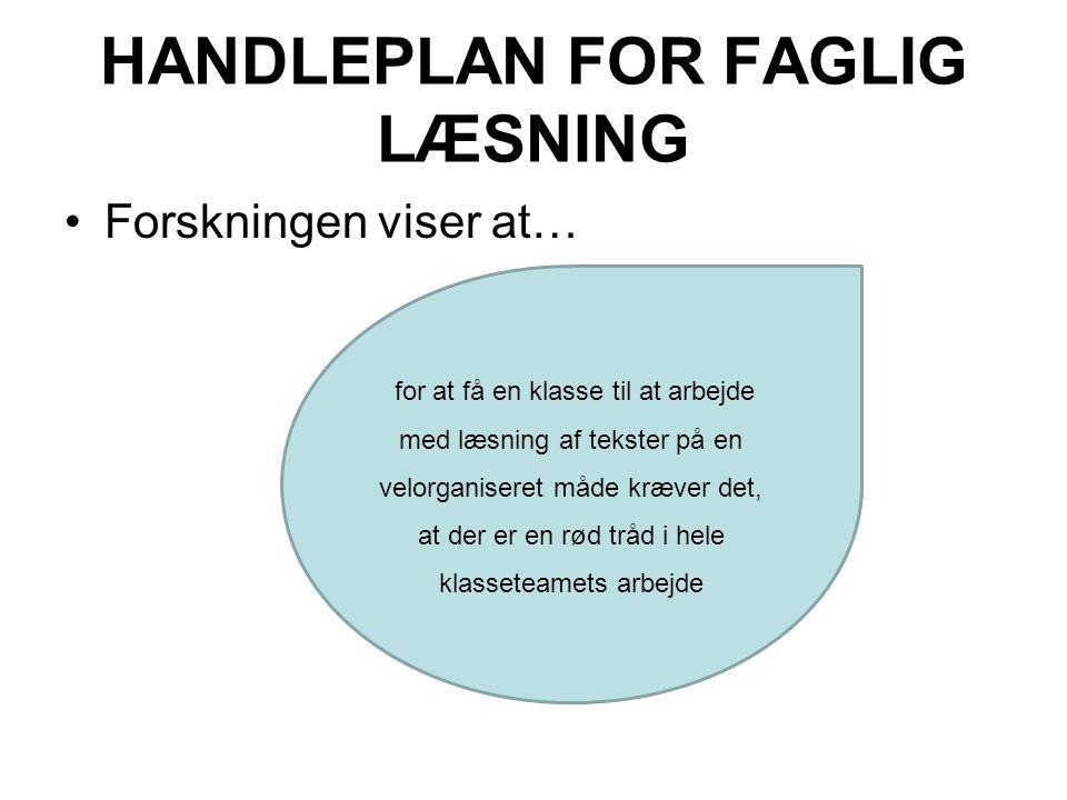 HANDLEPLAN FOR FAGLIG LÆSNING