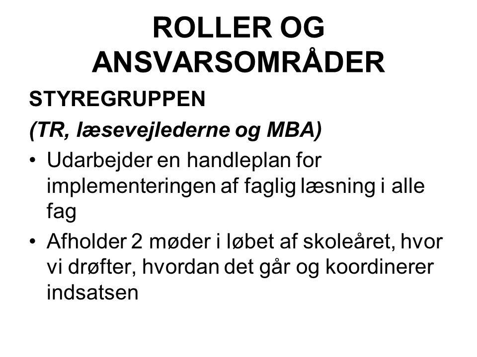 ROLLER OG ANSVARSOMRÅDER