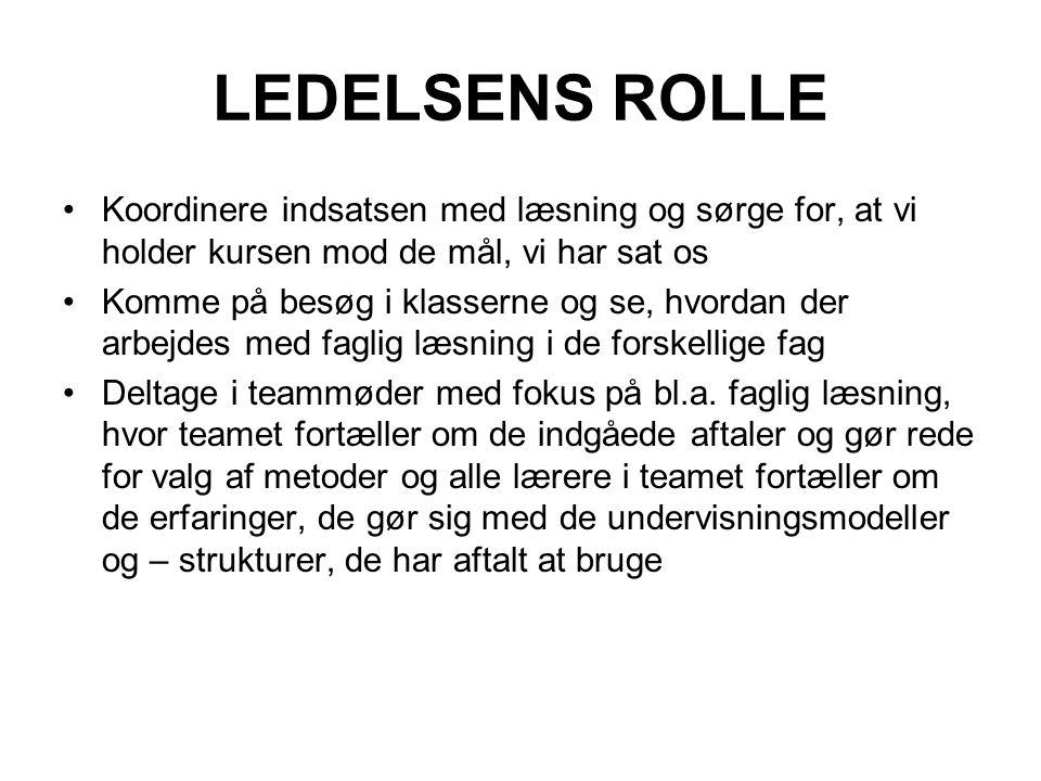 LEDELSENS ROLLE Koordinere indsatsen med læsning og sørge for, at vi holder kursen mod de mål, vi har sat os.