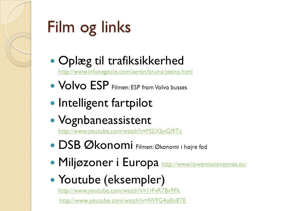 Film og links Oplæg til trafiksikkerhed http://www.infonegocio.com/xeron/bruno/yesno.html. Volvo ESP Filmen: ESP from Volvo busses.