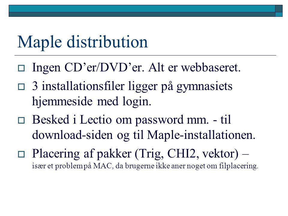 Maple distribution Ingen CD'er/DVD'er. Alt er webbaseret.