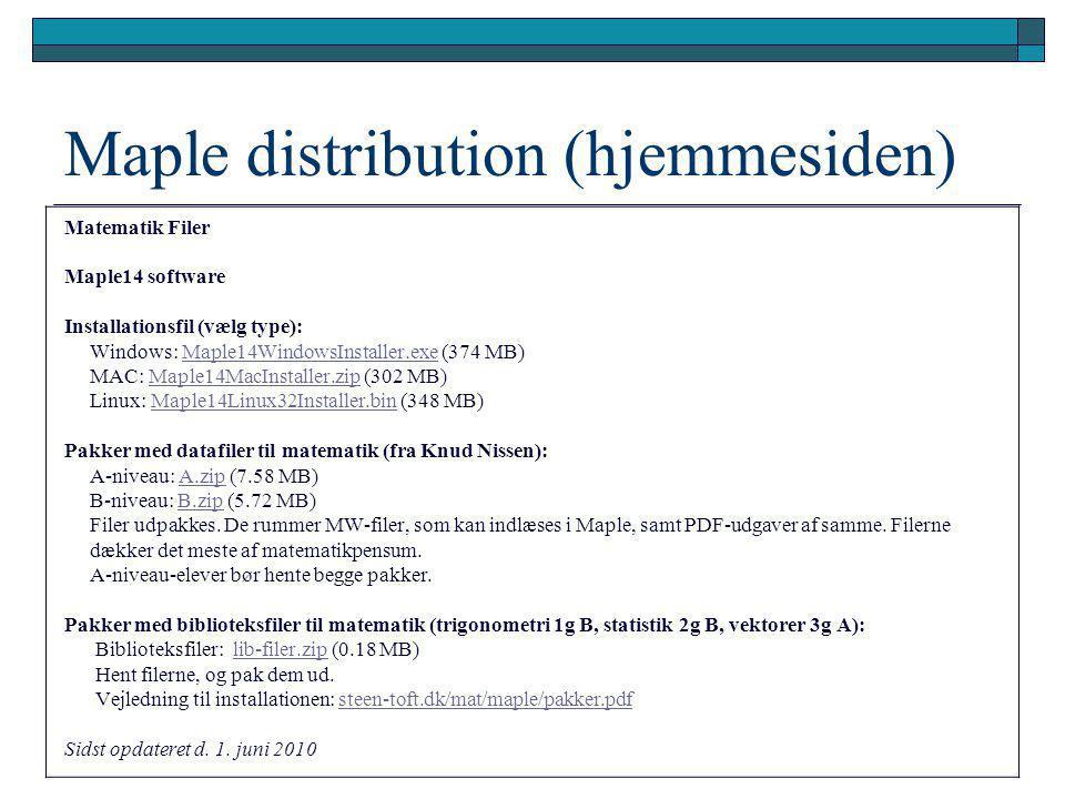 Maple distribution (hjemmesiden)
