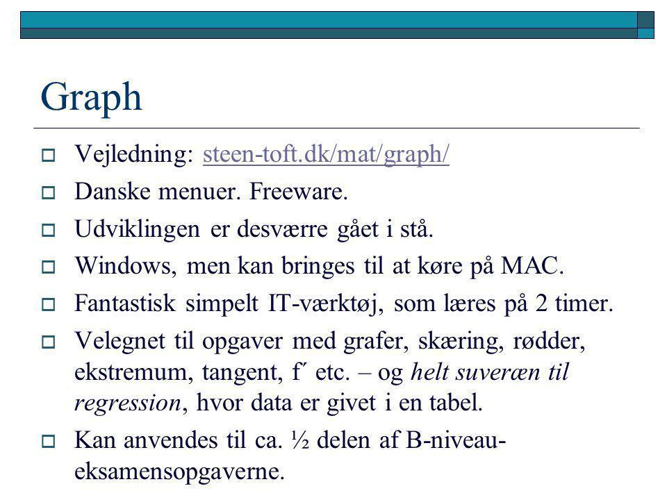 Graph Vejledning: steen-toft.dk/mat/graph/ Danske menuer. Freeware.