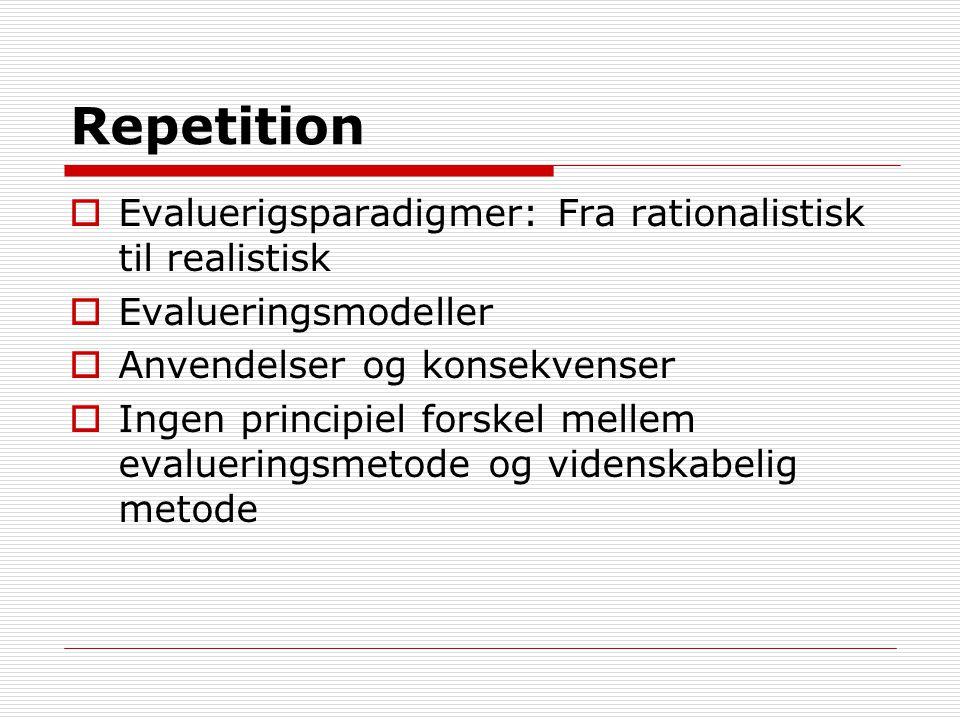 Repetition Evaluerigsparadigmer: Fra rationalistisk til realistisk
