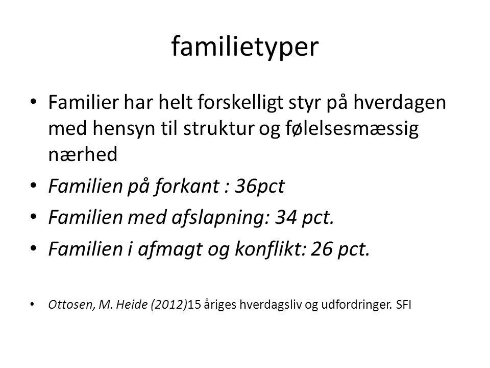 familietyper Familier har helt forskelligt styr på hverdagen med hensyn til struktur og følelsesmæssig nærhed.