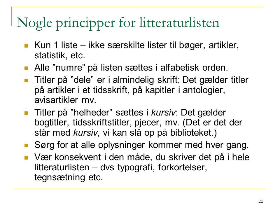 Nogle principper for litteraturlisten