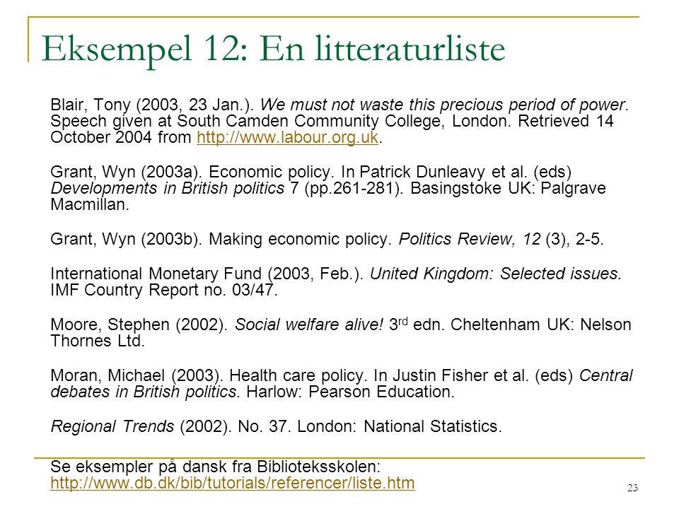 Eksempel 12: En litteraturliste