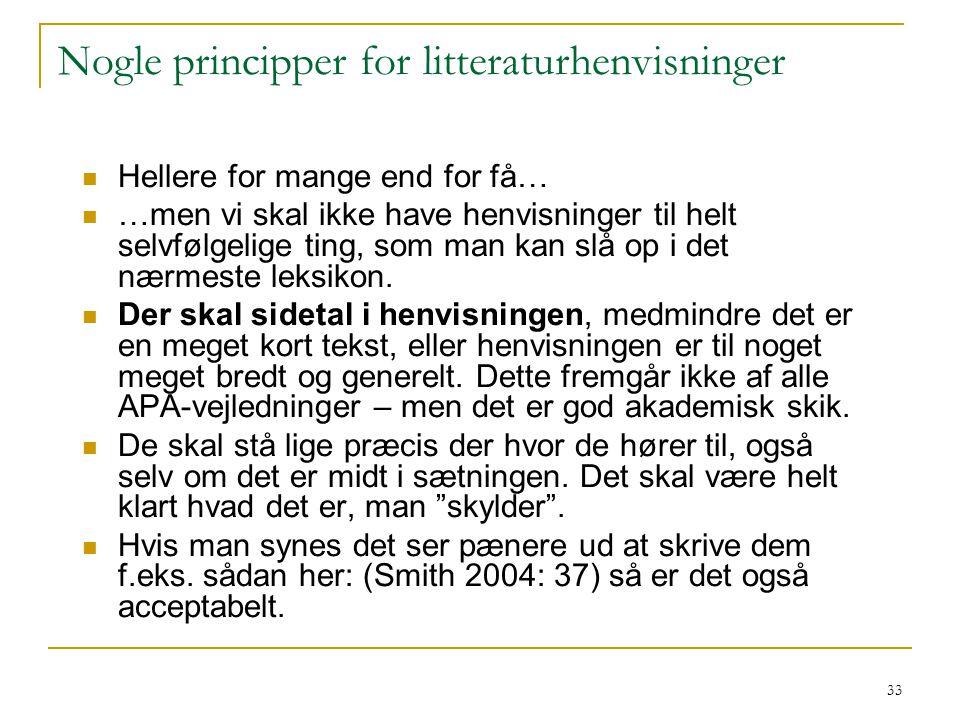 Nogle principper for litteraturhenvisninger
