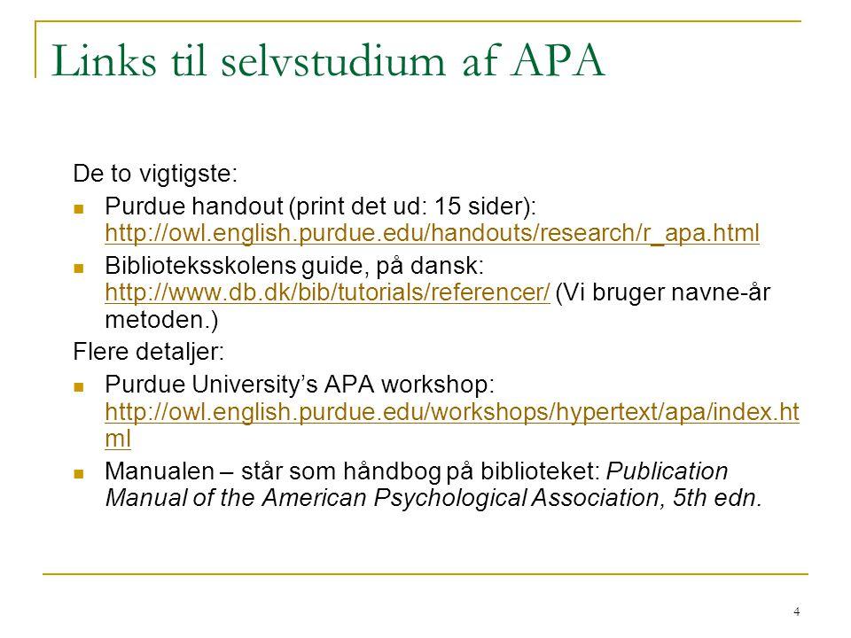 Links til selvstudium af APA