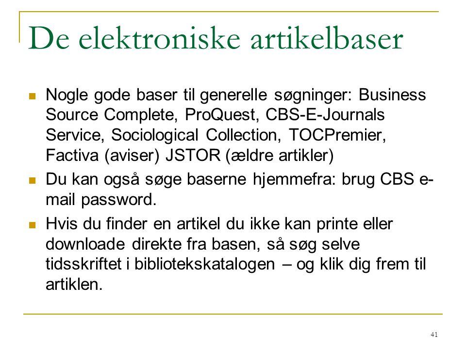 De elektroniske artikelbaser