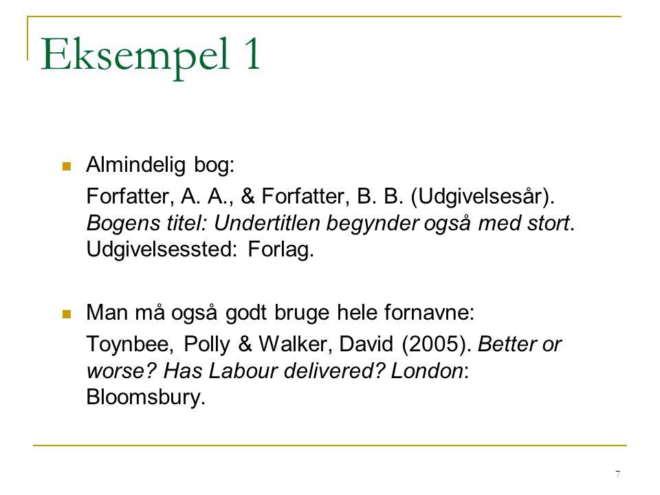 Eksempel 1 Almindelig bog: