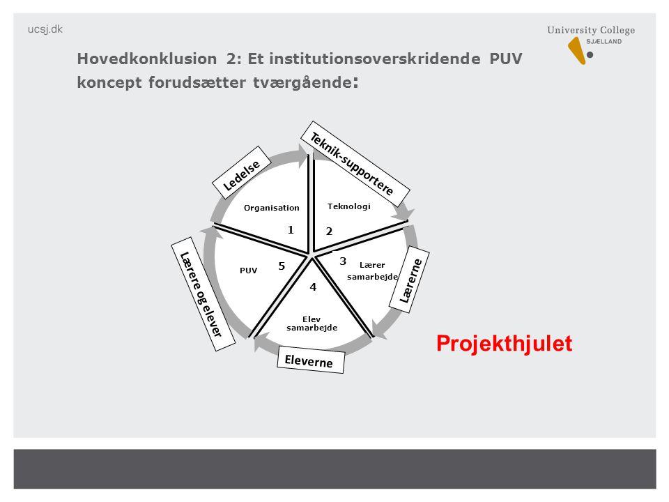 Hovedkonklusion 2: Et institutionsoverskridende PUV koncept forudsætter tværgående:
