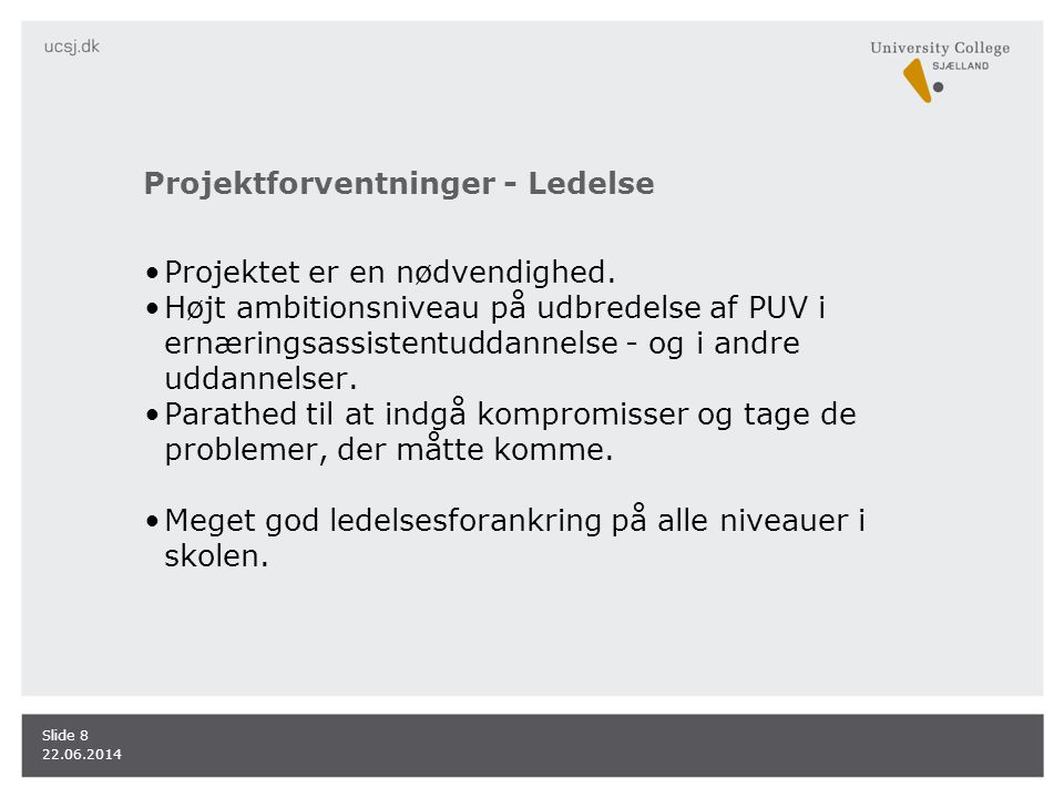Projektforventninger - Ledelse