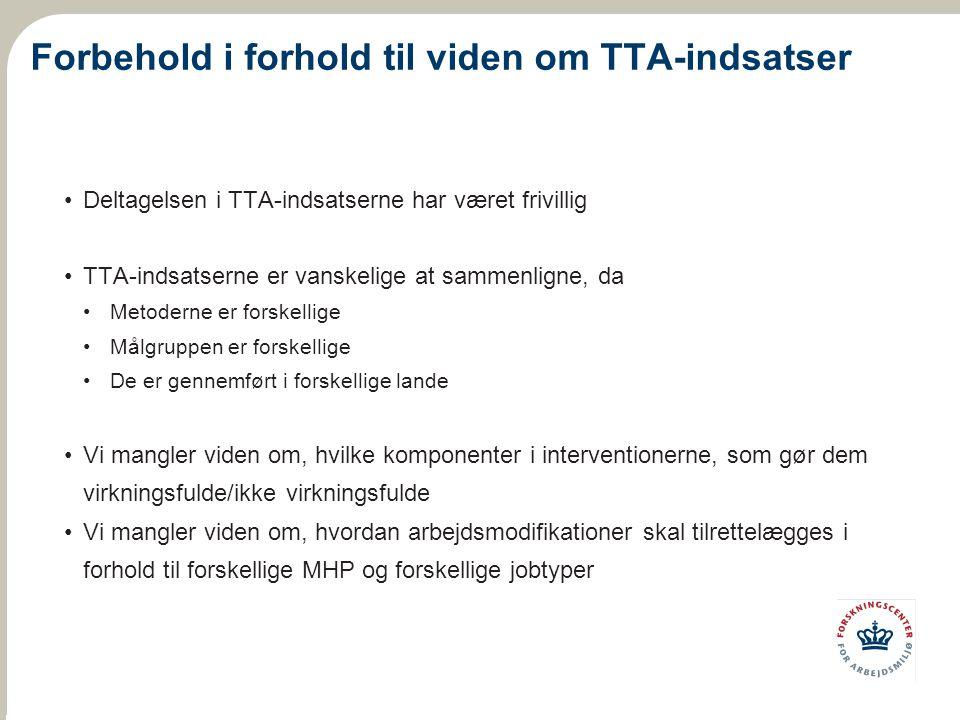 Forbehold i forhold til viden om TTA-indsatser