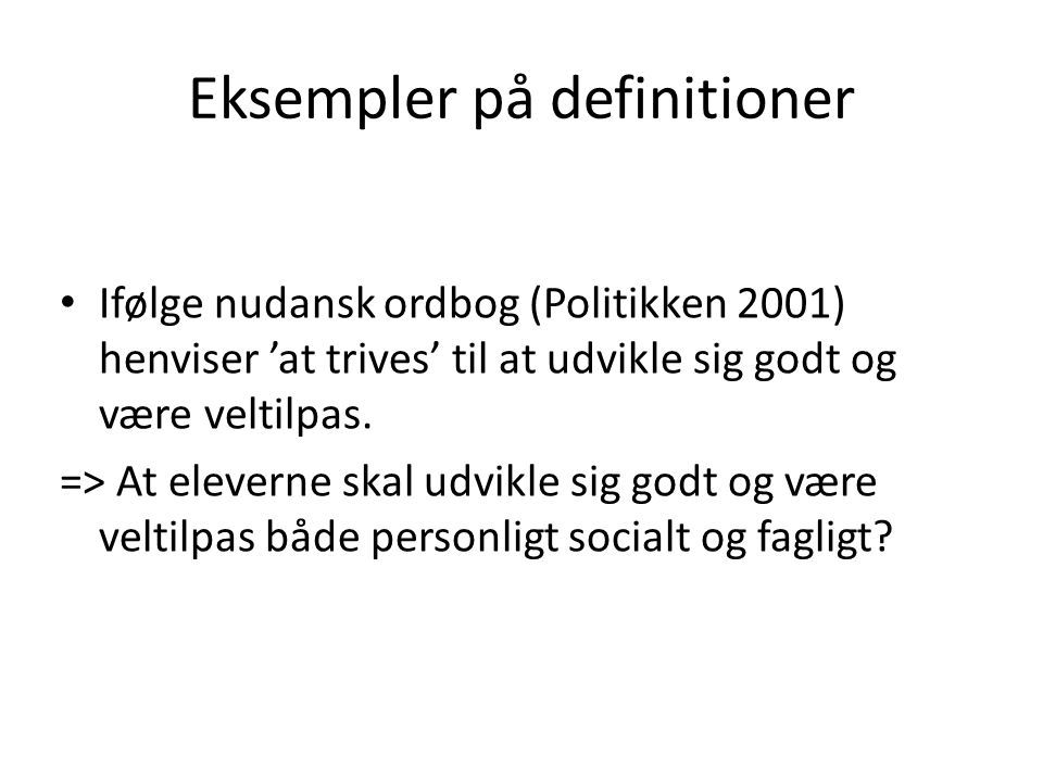 Eksempler på definitioner