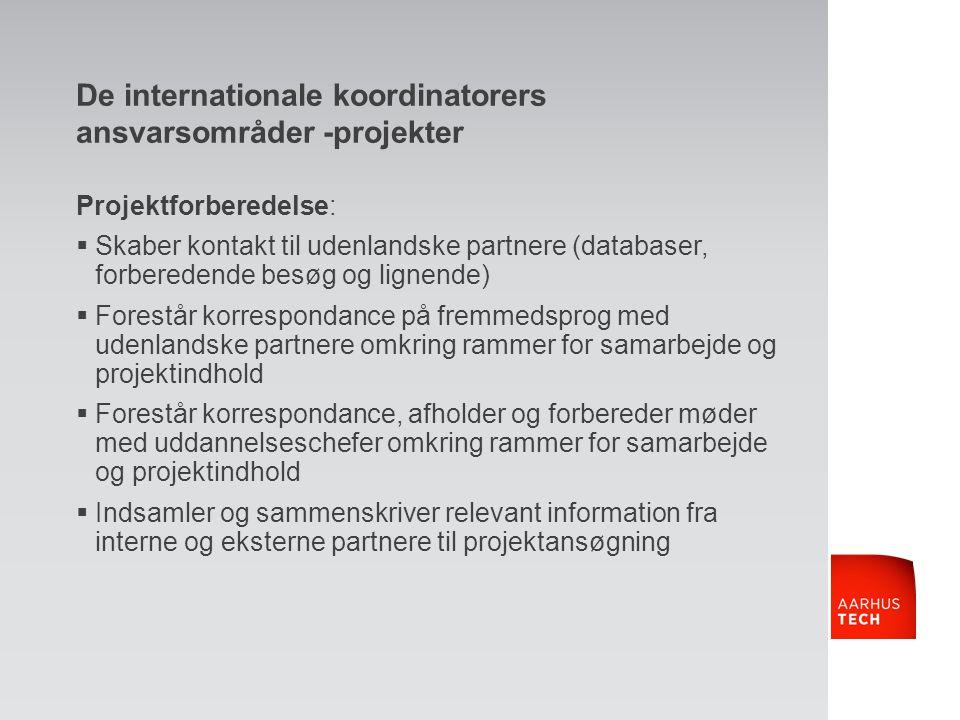 De internationale koordinatorers ansvarsområder -projekter