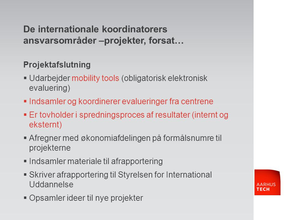 De internationale koordinatorers ansvarsområder –projekter, forsat…