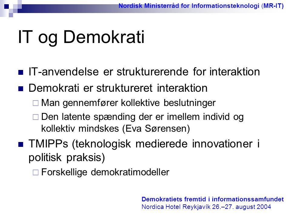 IT og Demokrati IT-anvendelse er strukturerende for interaktion