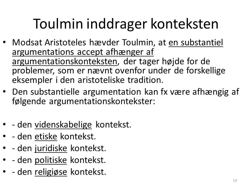 Toulmin inddrager konteksten