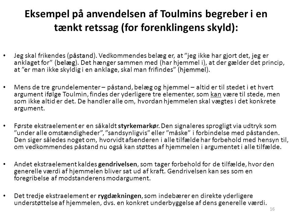 Eksempel på anvendelsen af Toulmins begreber i en tænkt retssag (for forenklingens skyld):