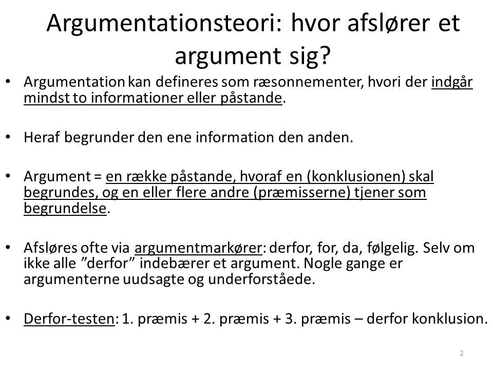 Argumentationsteori: hvor afslører et argument sig