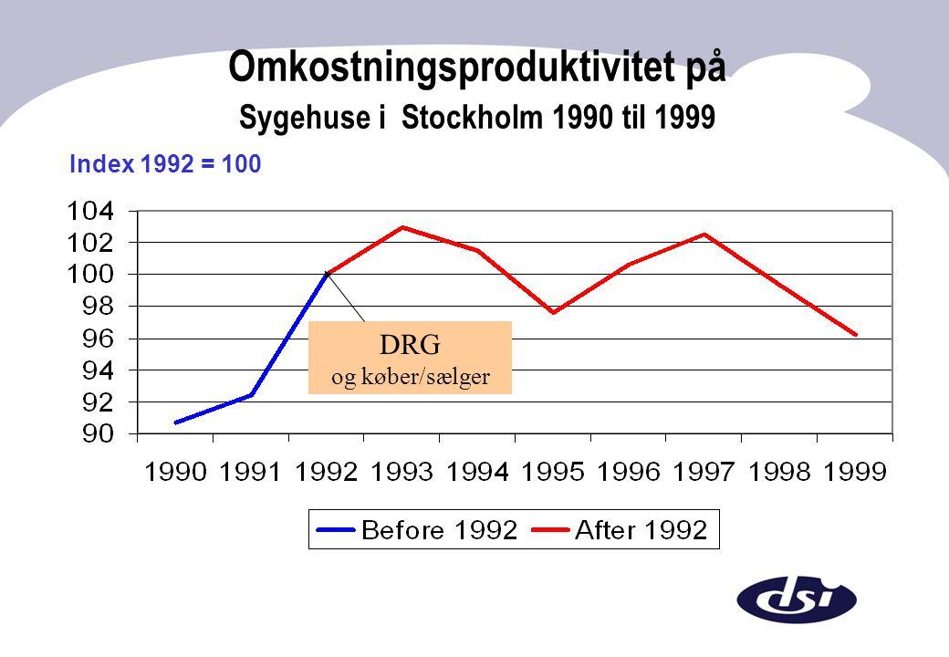 Omkostningsproduktivitet på Sygehuse i Stockholm 1990 til 1999