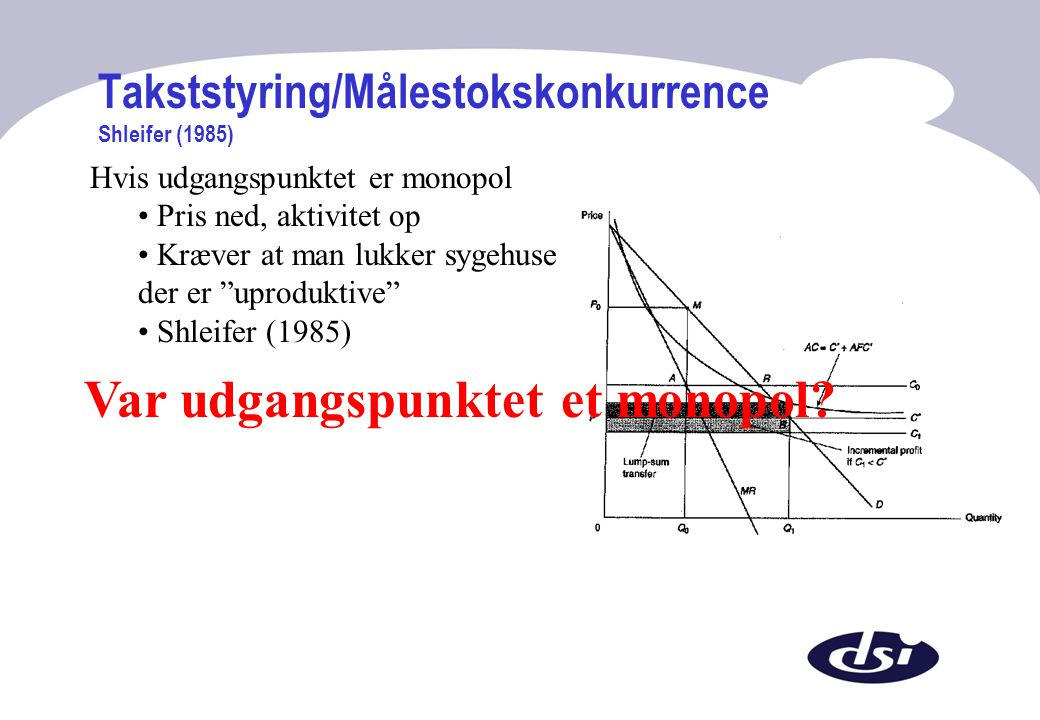 Takststyring/Målestokskonkurrence Shleifer (1985)