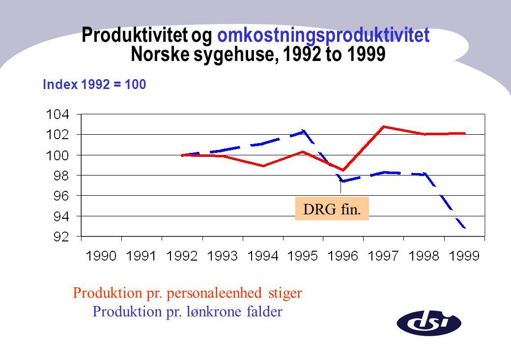 Produktivitet og omkostningsproduktivitet Norske sygehuse, 1992 to 1999