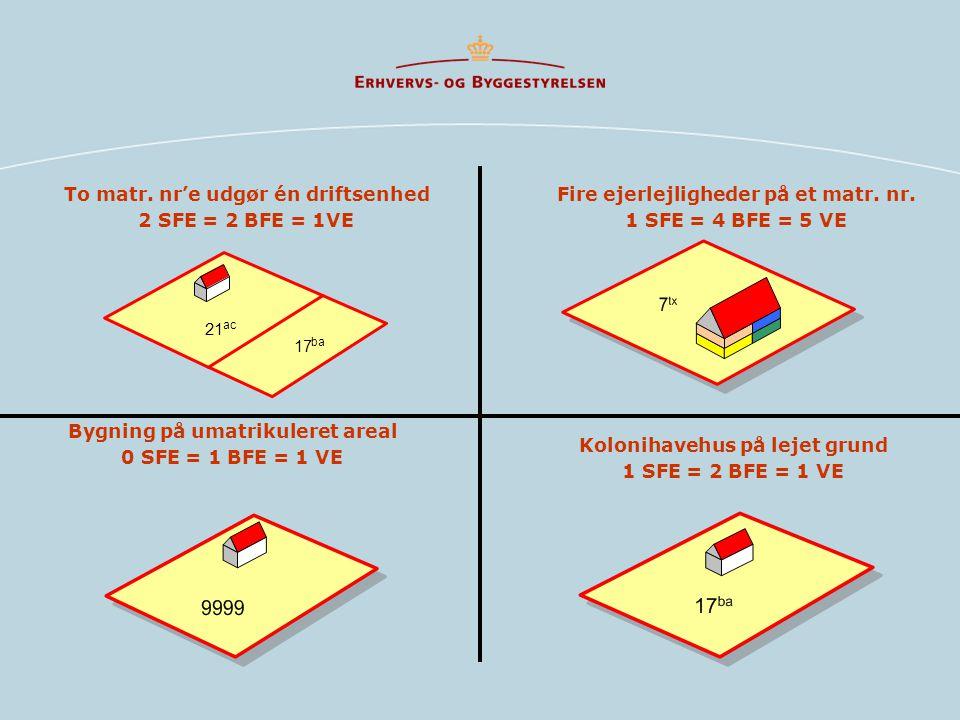 To matr. nr'e udgør én driftsenhed 2 SFE = 2 BFE = 1VE