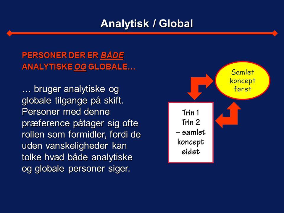 Analytisk / Global PERSONER DER ER BÅDE ANALYTISKE OG GLOBALE…