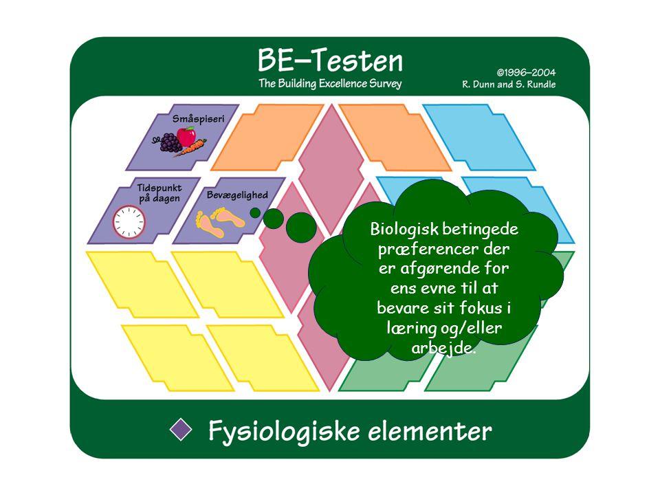 Biologisk betingede præferencer der er afgørende for ens evne til at bevare sit fokus i læring og/eller arbejde.