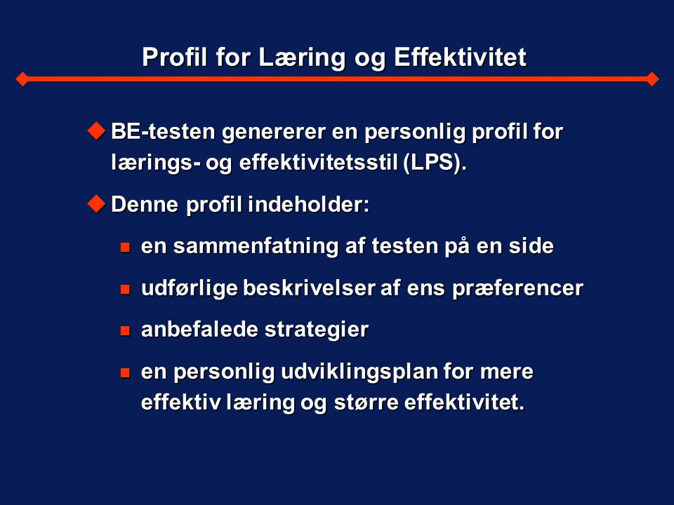 Profil for Læring og Effektivitet